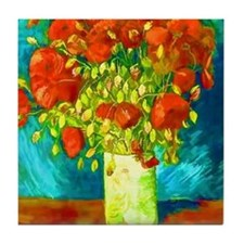 orange poppies van gogh Tile Coaster