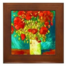 red poppies Framed Tile