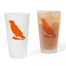 Orange Crow Silhouette Drinking Glass