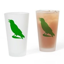Green Crow Silhouette Drinking Glass