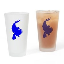 Blue Hawk Silhouette Drinking Glass