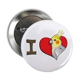 "I heart cockatiels 2.25"" Button (100 pack)"