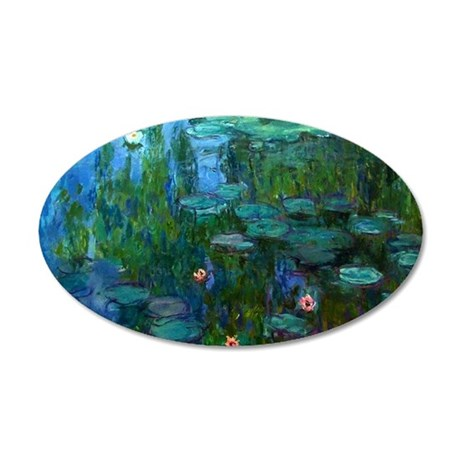 monet nymphea lily pond give 35x21 Oval Wall Decal
