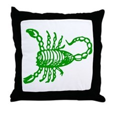 Green Scorpion Throw Pillow