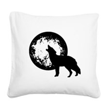 Wolf Howling At Moon Square Canvas Pillow