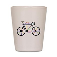 Bike made up of words to motivate Shot Glass