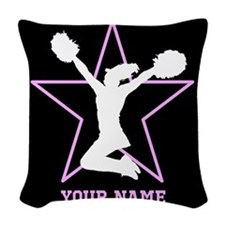 Cheerleader Pink and black Woven Throw Pillow