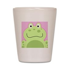 Cute Frog with Pink Background Shot Glass