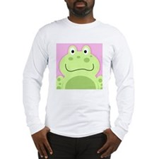 Cute Frog with Pink Background Long Sleeve T-Shirt
