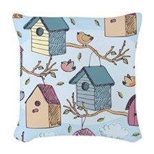 Cute Birdhouses Woven Throw Pillow