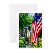 American Flags in the Neighborhood Greeting Cards
