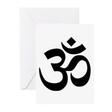 Black Om Symbol Greeting Cards