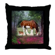 Clydesdale Mare and Foal Throw Pillow