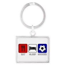 EAT SLEEP SOCCER Landscape Keychain