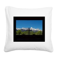 Chapel View of the Grand Tetons Square Canvas Pill