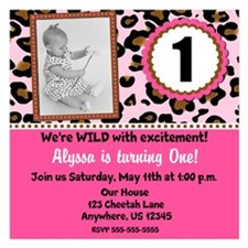 Pink Cheetah Invite Invitations