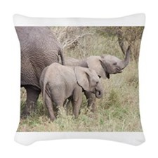 Two Baby Elephants Woven Throw Pillow