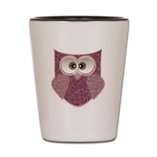 Cute Pink Owl Art Shot Glass