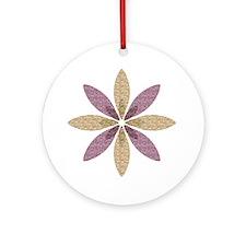 Sparkle Effect Floral Art Round Ornament