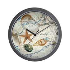 vintage girly seashells nautical anchor Wall Clock