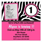Zebra print 1st birthday invitations 5.25 x 5.25 Flat Cards