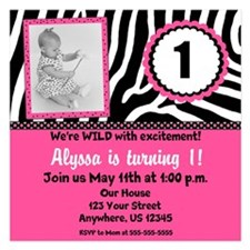 Pink Zebra Birthday Invite Invitations