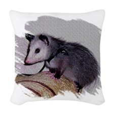 Baby Possum Woven Throw Pillow