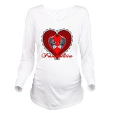Possum Valentines Heart Long Sleeve Maternity T-Sh