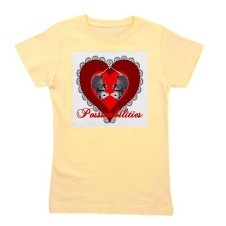 Possum Valentines Heart Girl's Tee