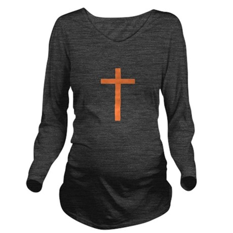 Orange Cross Long Sleeve Maternity T-Shirt