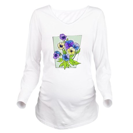 pansies.png Long Sleeve Maternity T-Shirt
