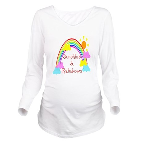 rainbow sunshine Long Sleeve Maternity T-Shirt