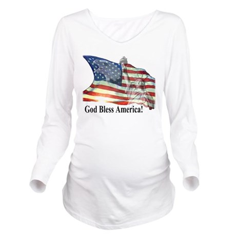 God Bless America! Long Sleeve Maternity T-Shirt