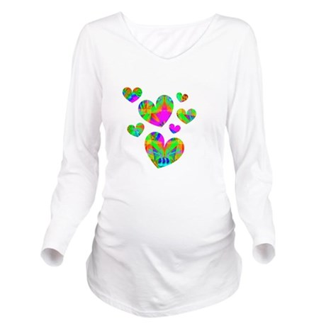 hearts5.png Long Sleeve Maternity T-Shirt