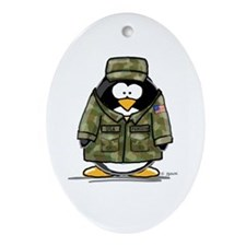 US Military Penguin Oval Ornament