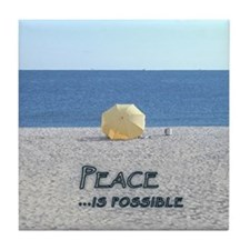 Yellow Beach Umbrella PEACE Tile Coaster