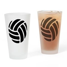 Black Volley Ball Drinking Glass