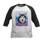 Malamute and sled team Kids Baseball Jersey