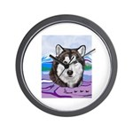 Malamute and sled team Wall Clock