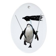 Ninja penguin Oval Ornament