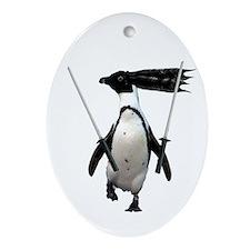 Ninja penguin Oval Ornament