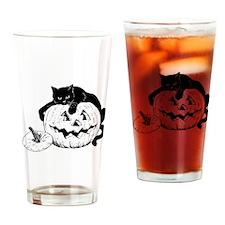 Black Cat and Jack O Lantern Drinking Glass