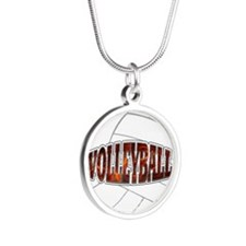 Volleyball Silver Round Necklace
