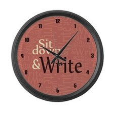 Sit Down and Write Large Wall Clock