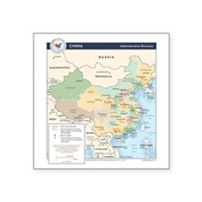 "China Map Square Sticker 3"" x 3"""