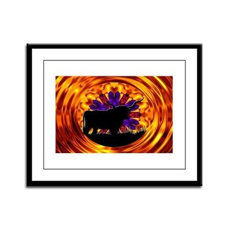 Texas Longhorn Framed Panel Print