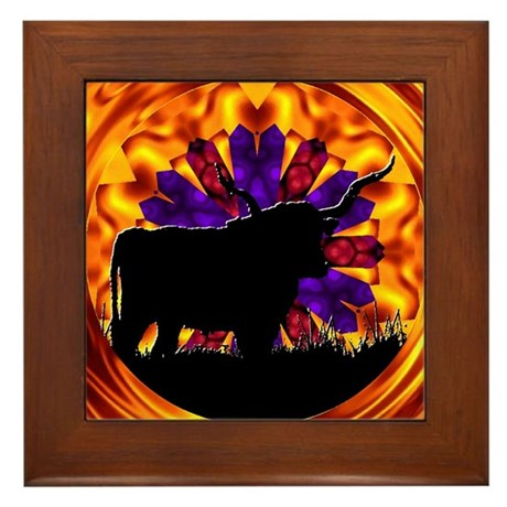 Texas Longhorn Framed Tile