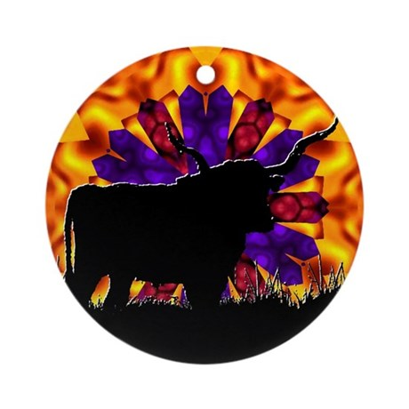 Texas Longhorn Ornament (Round)