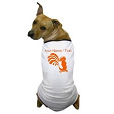 Custom Orange Rooster Silhouette Dog T-Shirt