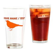 Custom Orange Robin Silhouette Drinking Glass